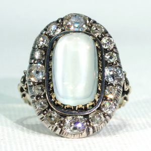 Stunning Victorian Diamond Moonstone Cluster Ring 15k Gold Silver