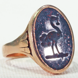Victorian Bloodstone Intaglio Seal Ring Ostrich with Key