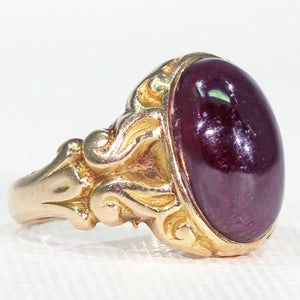 Victorian Cabochon Garnet Ring Carved Shoulders 15k Gold