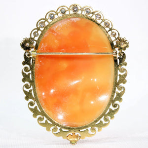 Victorian Cameo Brooch Pin 15k Gold Pearl Diamond Frame