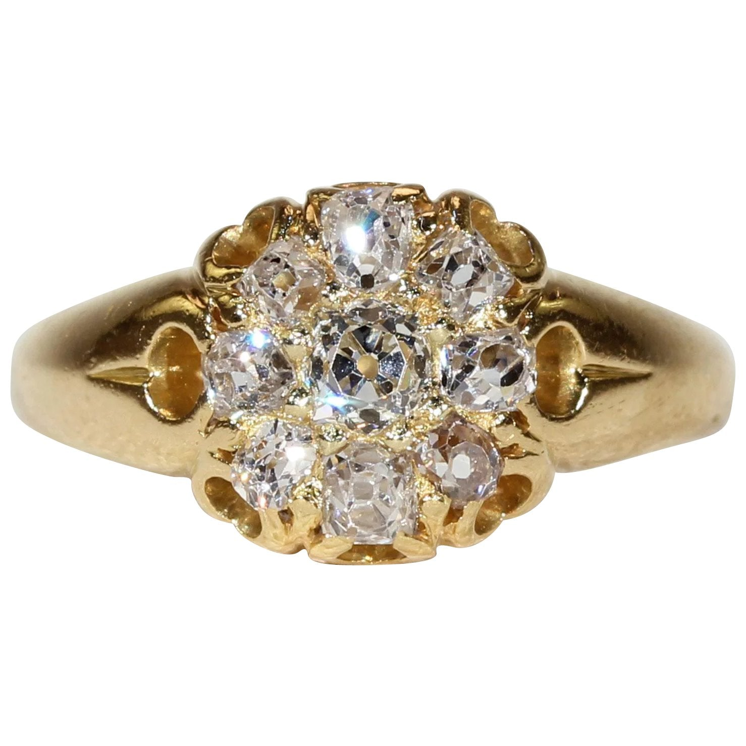 ring natural pin cut cushion full gold semi diamond settings mount