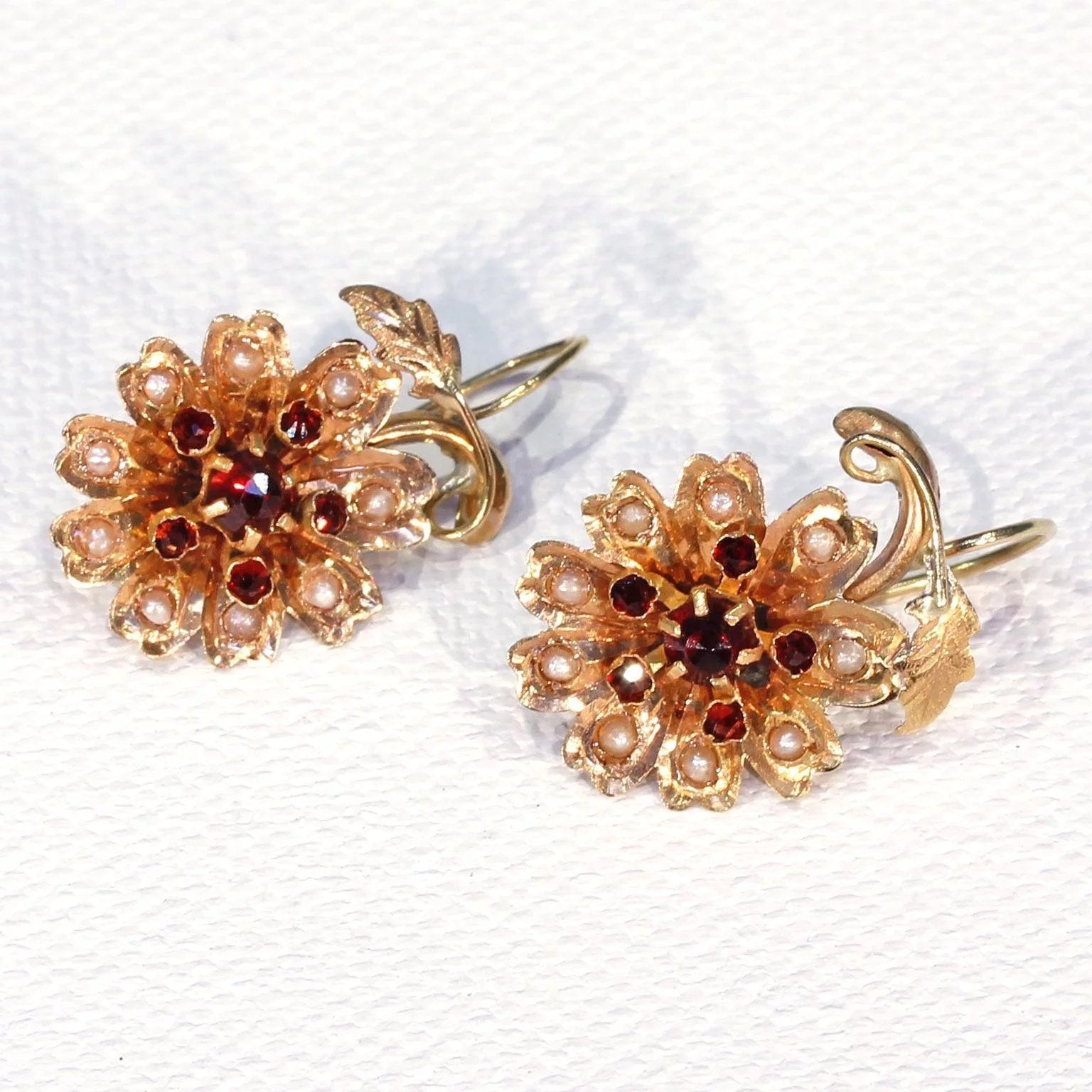 Victorian Garnet Pearl Earrings 18k Gold