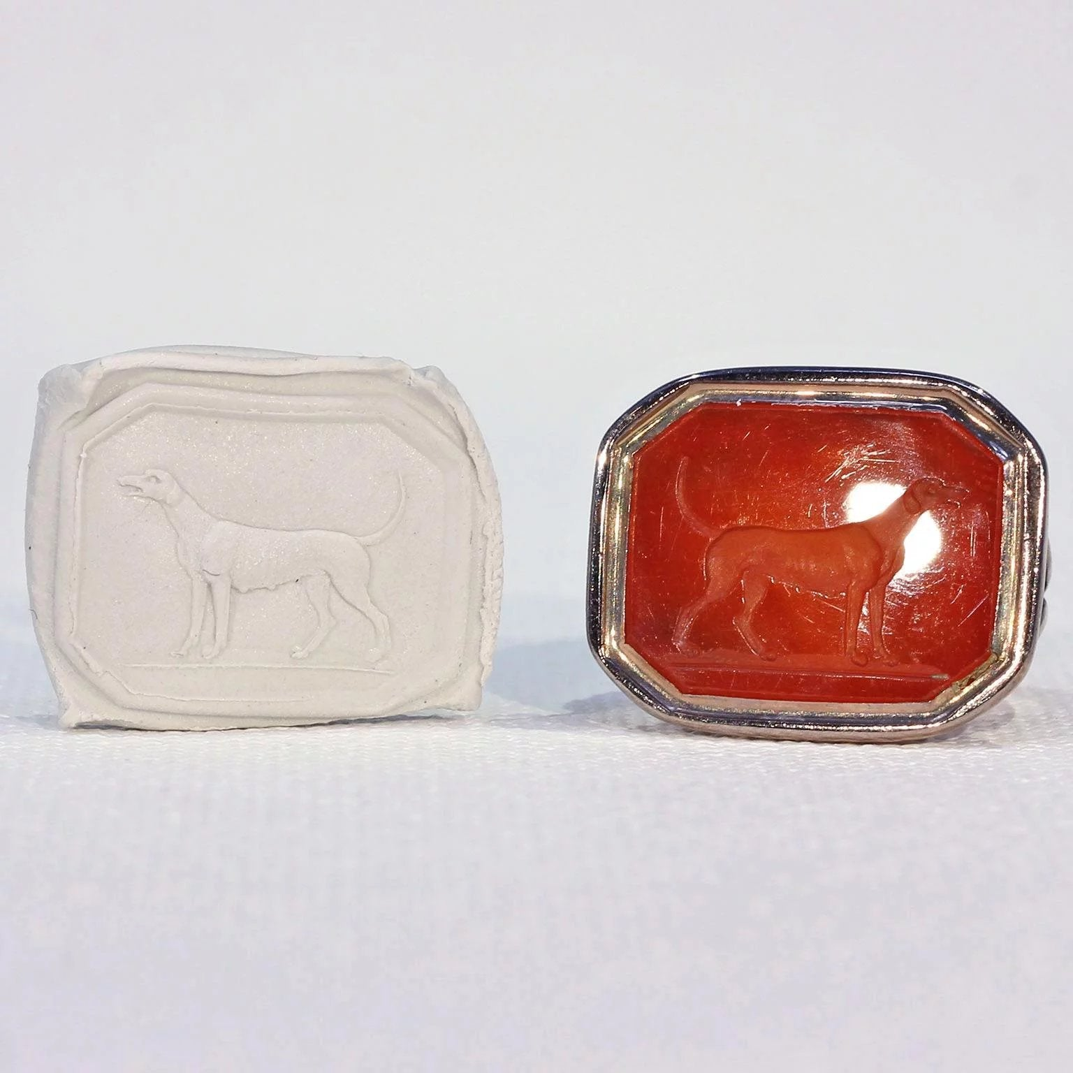 Victorian Gold Carnelian Carved Dog Fob Pendant