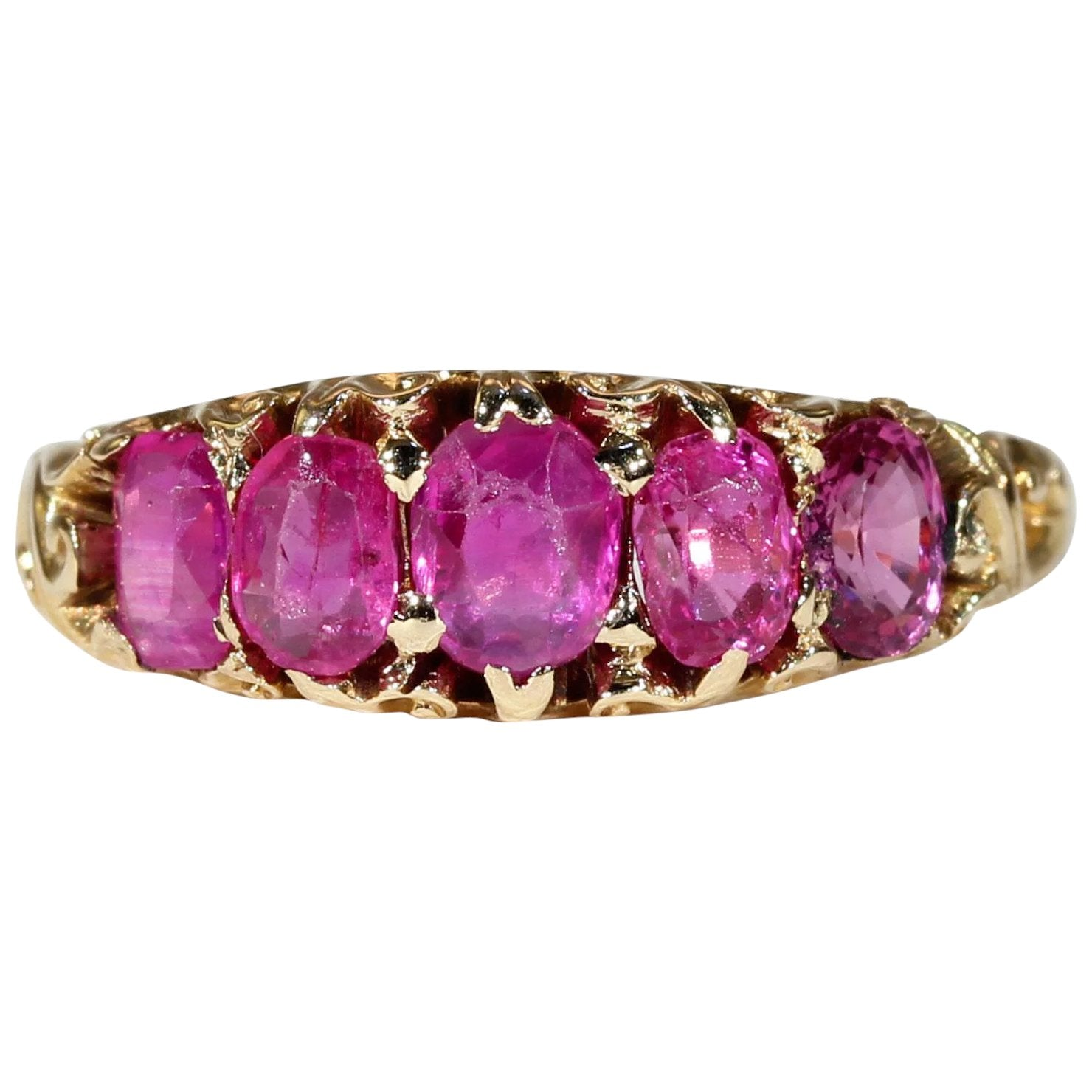 Victorian Half Hoop 5 Stone Ruby Ring Gold - Victoria Sterling ...