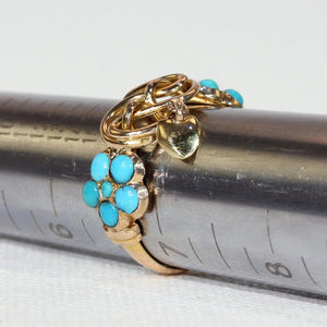 Victorian Love Knot Turquoise Heart Dangle Ring