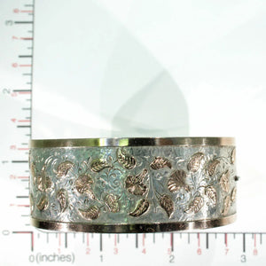 Victorian Morning Glory Silver Bangle Bracelet Gold Accents