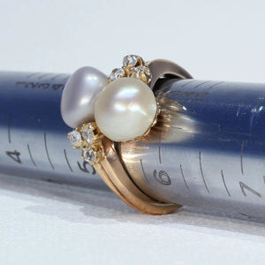 Victorian Natural Pearl Diamond Bypass Ring 18k Gold
