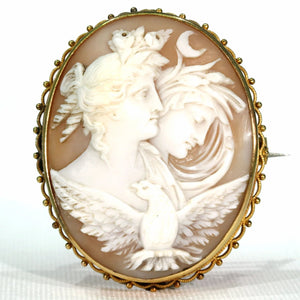 Victorian Night and Day 15k Gold Cameo Brooch Pin