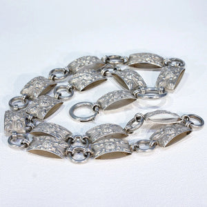 Victorian Repousséd Floral Collar Necklace in Sterling Silver