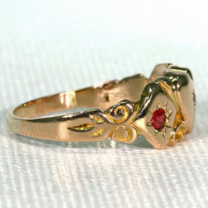 Victorian Ruby Diamond Heart Ring Gold