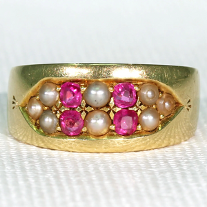 "Victorian Ruby & Pearl Band 18K, Inscribed ""A to B"""