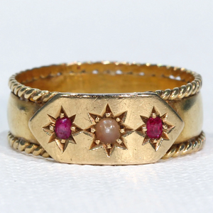 Victorian Ruby Pearl Ring 18k Gold Hallmarked 1882