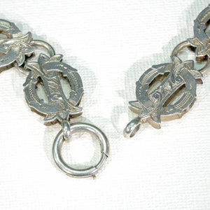 Victorian Silver Collar Necklace Garter Buckle Motif