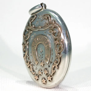 Victorian Silver Rose Gold Regard Locket Horseshoe
