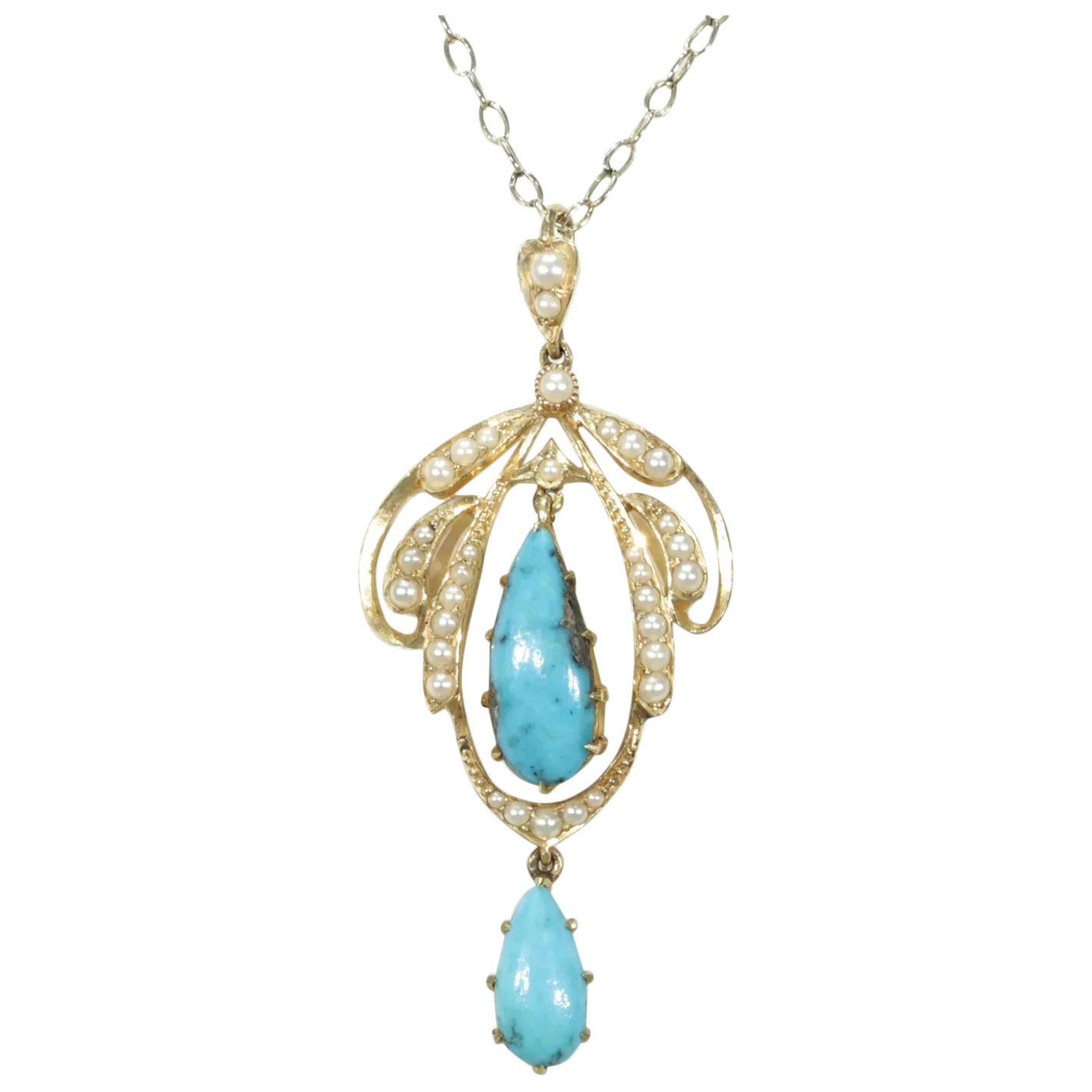 Victorian Turquoise Pearl Pendant 15k Gold