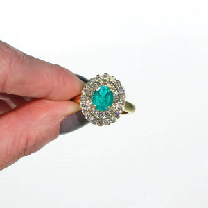 Vintage Emerald Diamond Double Halo Ring 18k Gold