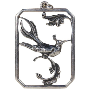 Vintage Silver Danish Bird of Paradise Pendant