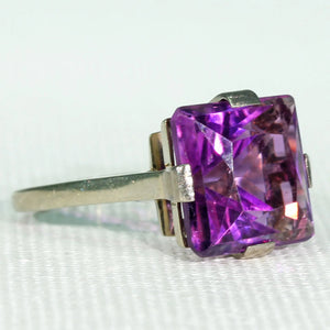 Vintage Square Cut Amethyst Ring 18k White Gold