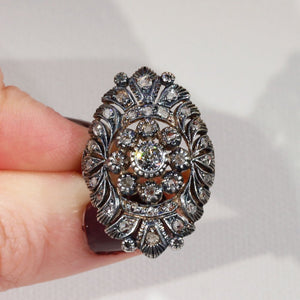 Antique Diamond Gold Silver Set Marquis Ring