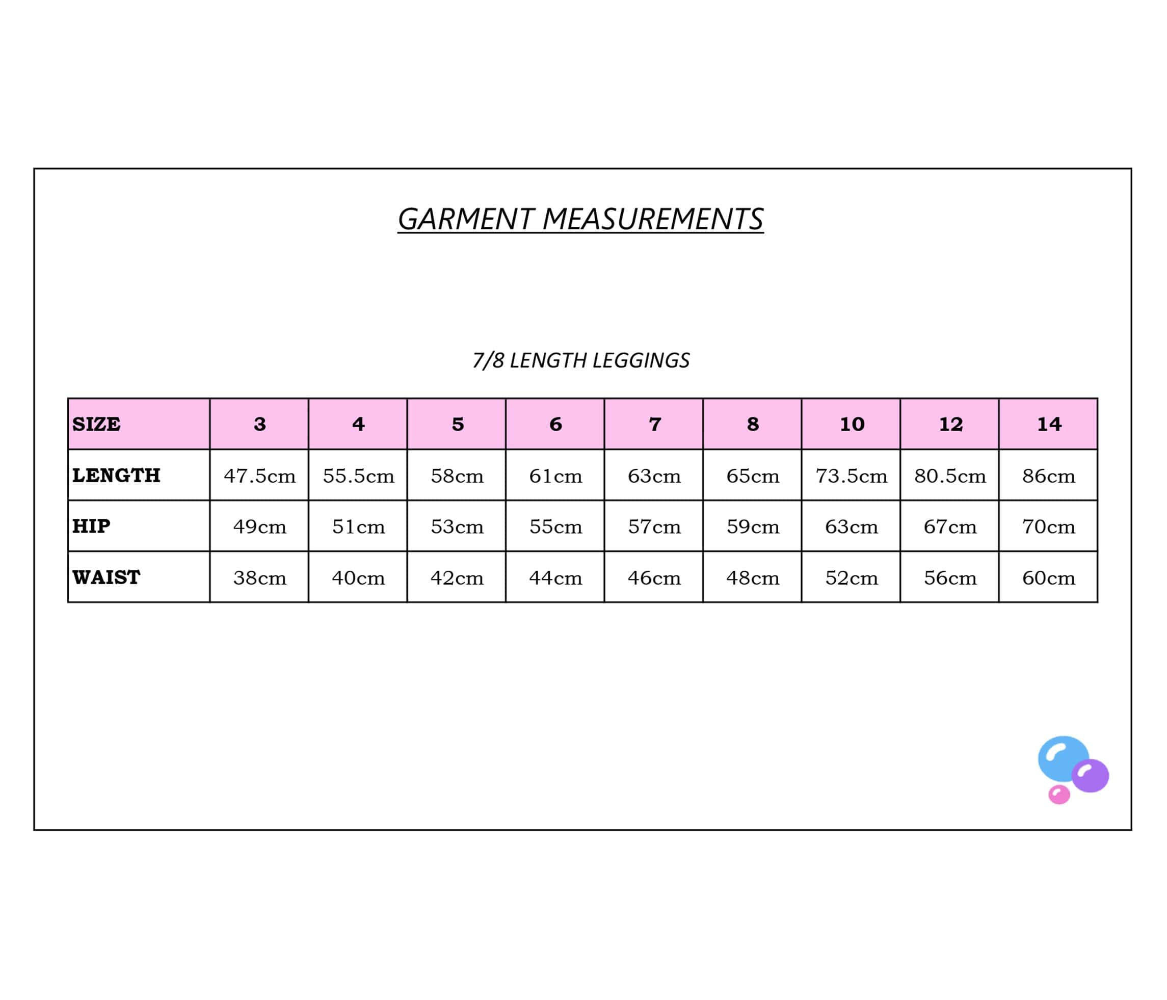 Bubble Active garment measurements for 7/8 girls sports leggings