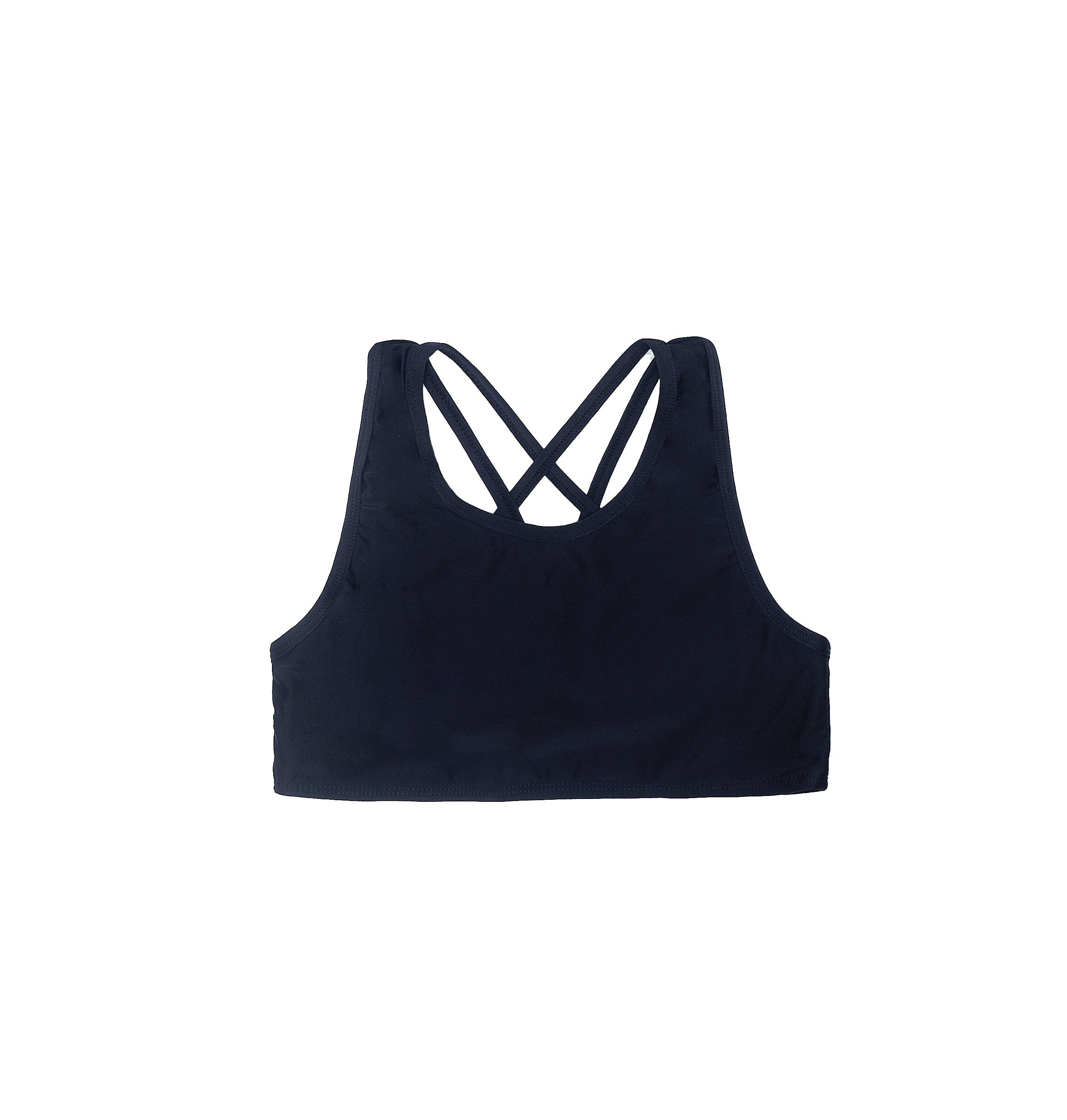 Girls Activewear Double Strap Crop Top Black