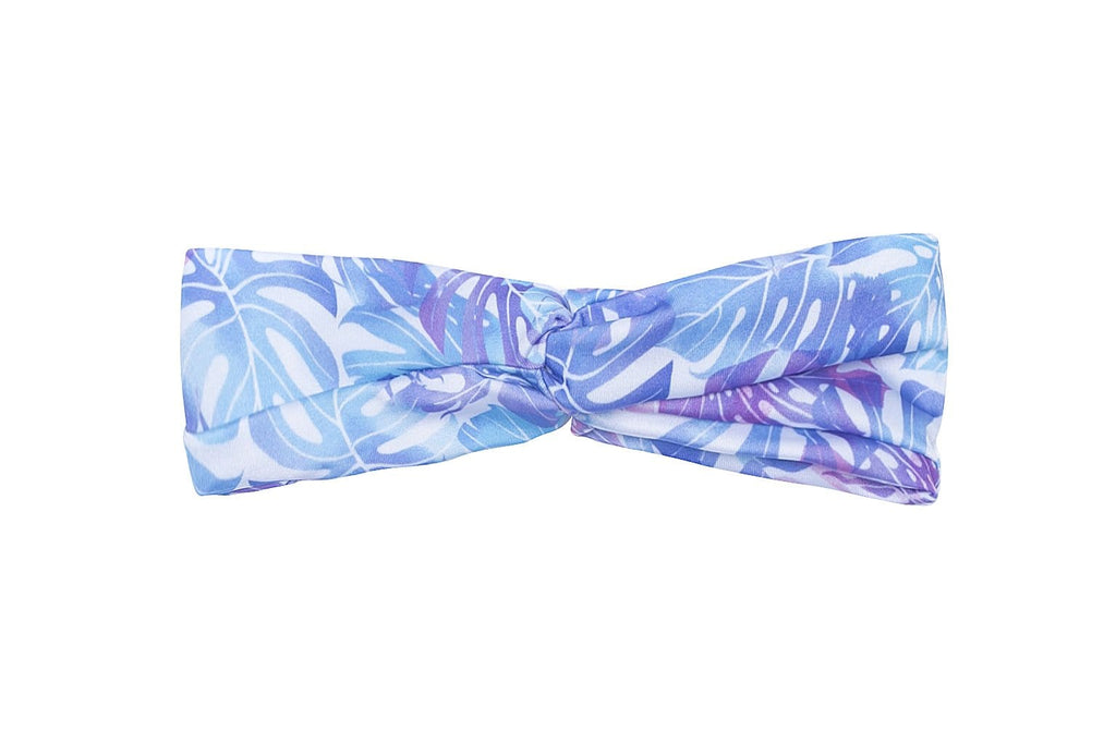 Bubble Active hair accessory headband blue and pink - pastel leaves design