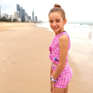 Girls Activewear Front Twist Tank Pink Grid