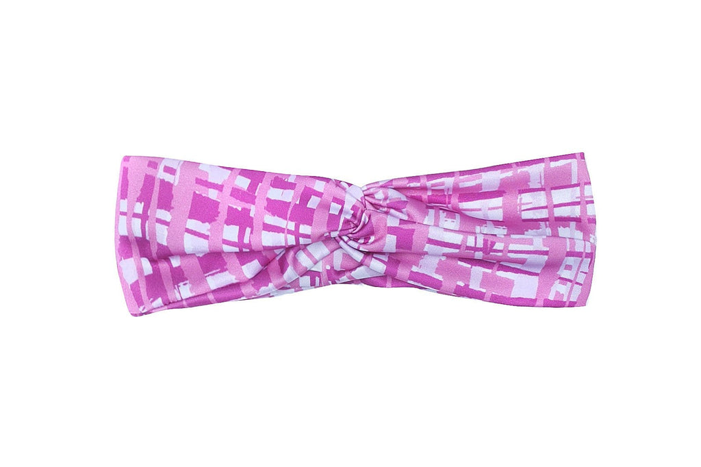 Bubble Active hair accessory headband bright pink - pink grid design