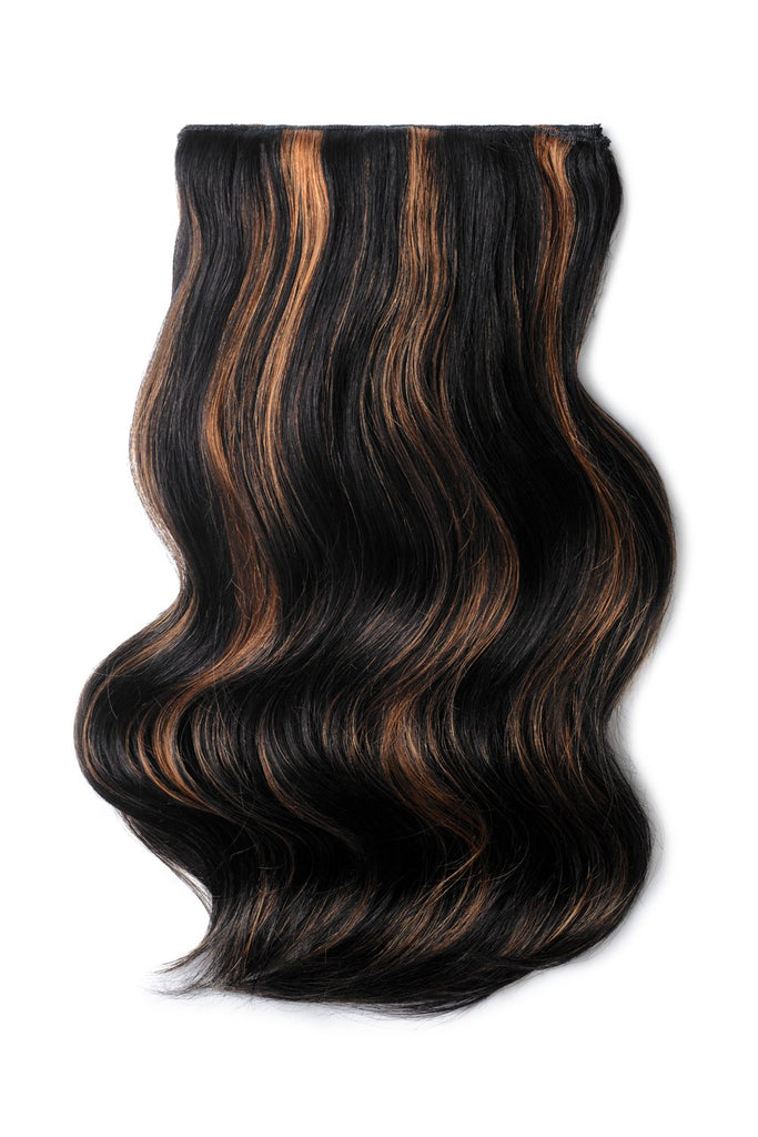 Double Wefted Full Head Remy Clip in Human Hair Extensions - Natural Black/Auburn Mix (#1B/30)