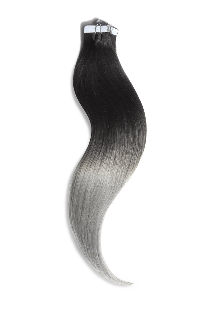 tape in hair extensions ombre silver grey black