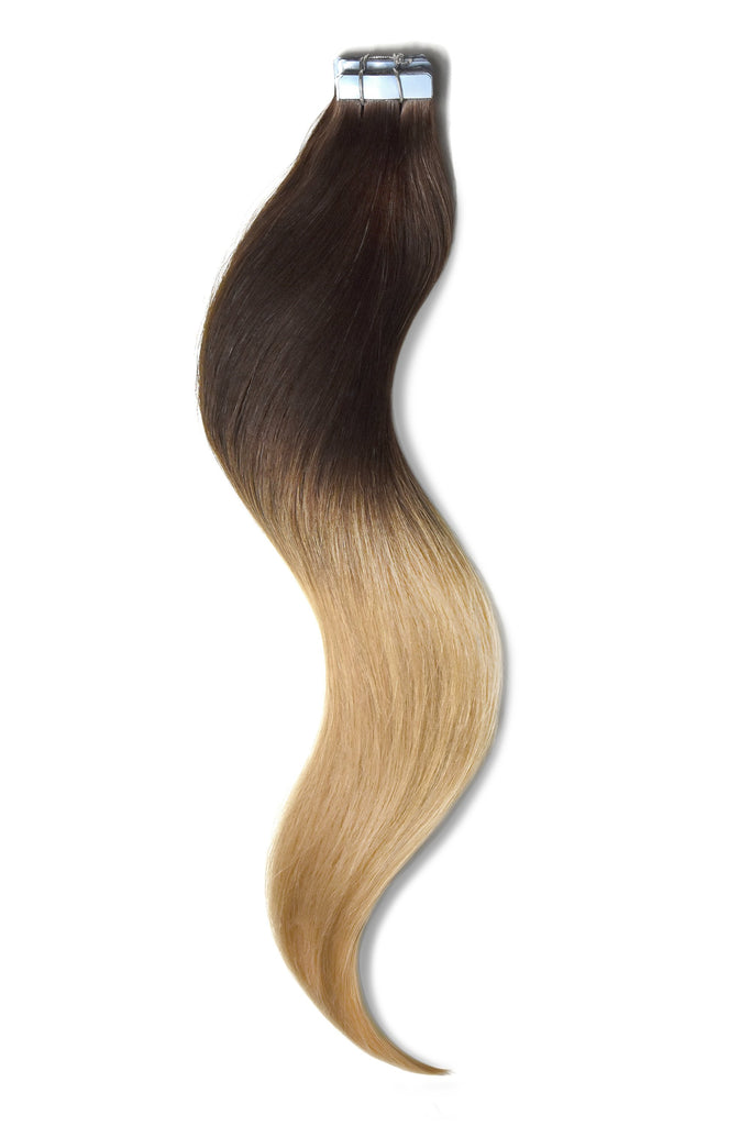 tape in hair extensions ombre brown shading to blonde colour