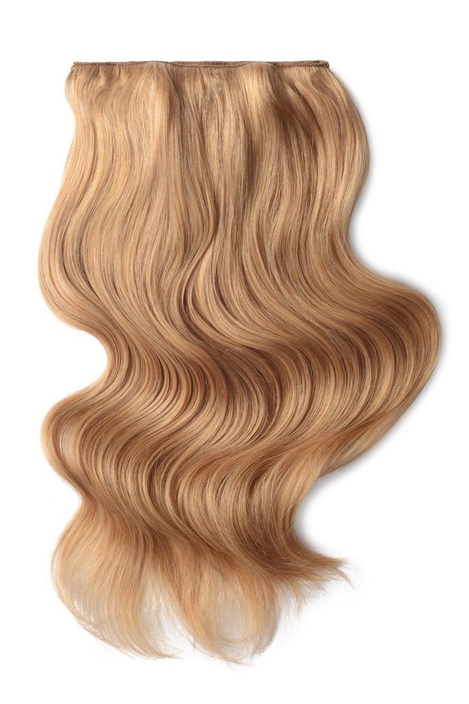 Double Wefted Full Head Remy Clip in Human Hair Extensions - Strawberry/Ginger Blonde (#27)
