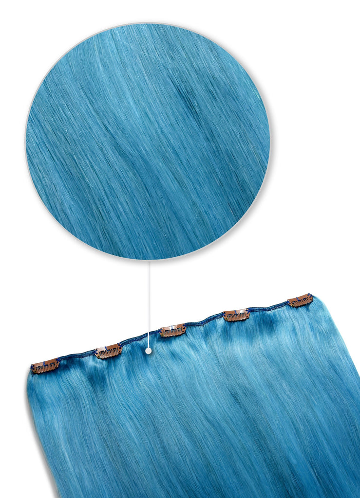 hair piece remy human hair extensions clip in turquoise shade