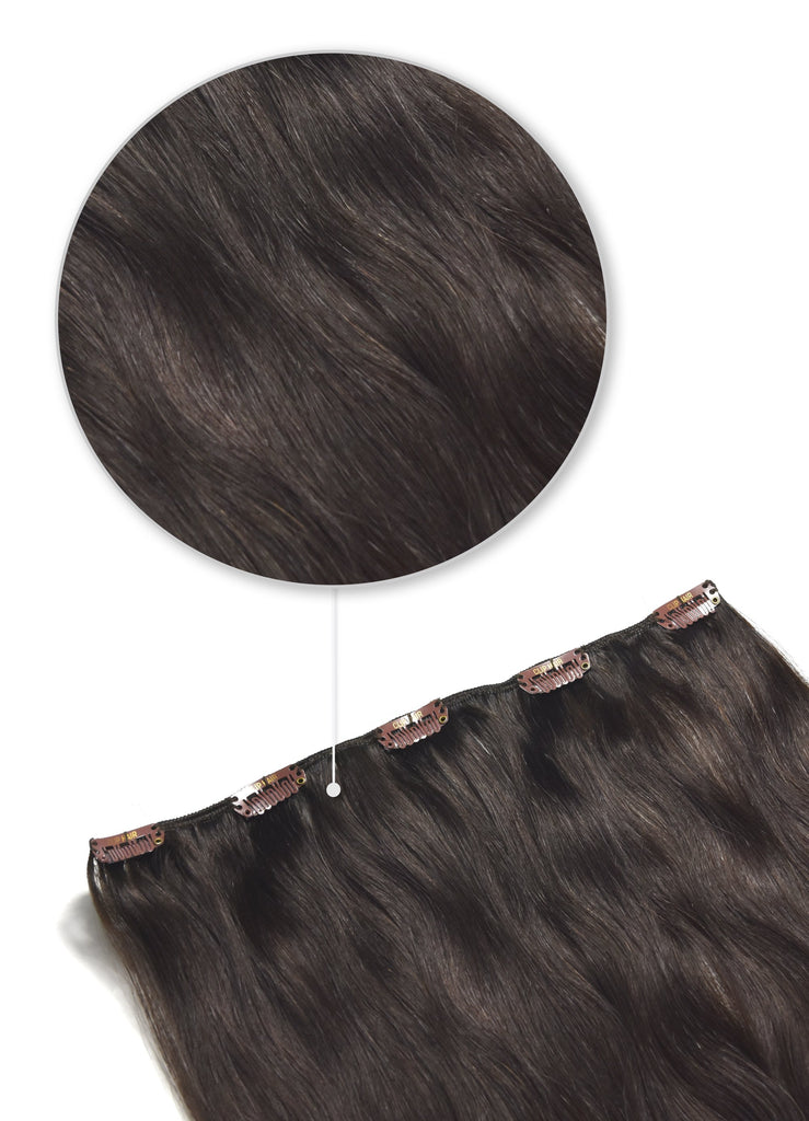 One Piece Top-up Remy Clip in Human Hair Extensions - Darkest Brown (#2)
