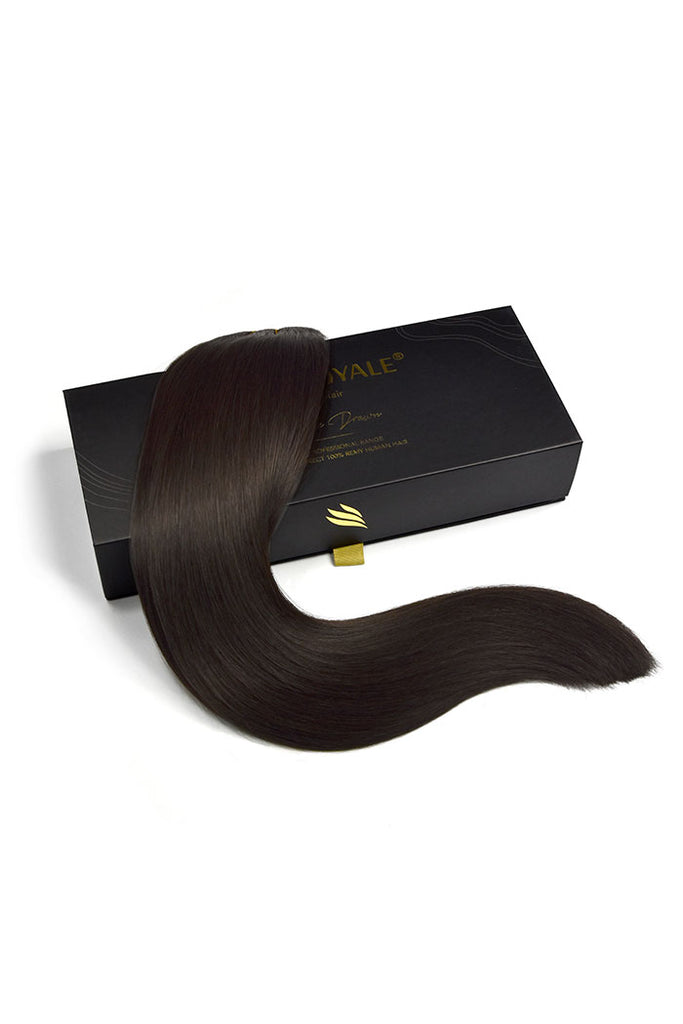 Remy Royale Double Drawn  Human Hair Weft Weave  Extensions - Darkest Brown (#2)