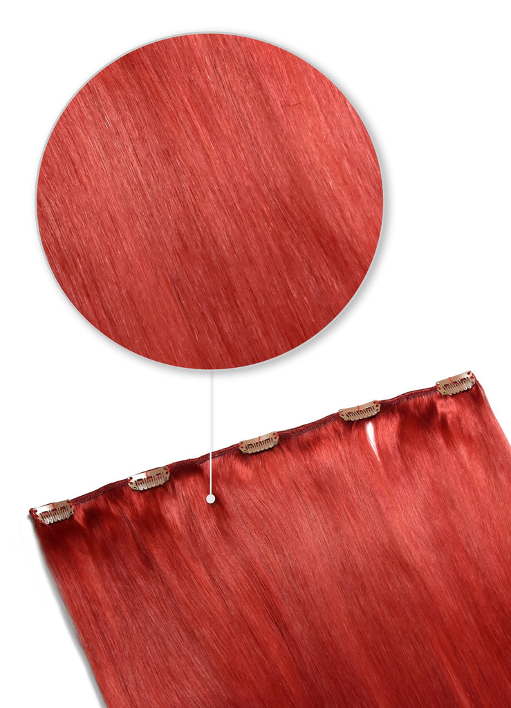one piece clip in hair extensions red