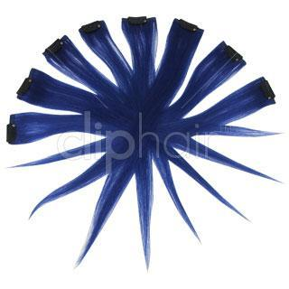 18 Inch Remy Clip in Human Hair Extensions Highlights / Streaks- Blue
