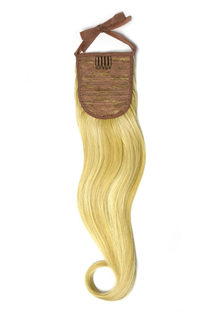 Clip in Ponytail Remy Human Hair Extensions - Golden Blonde/Bleach Blonde Mix (#16/613)