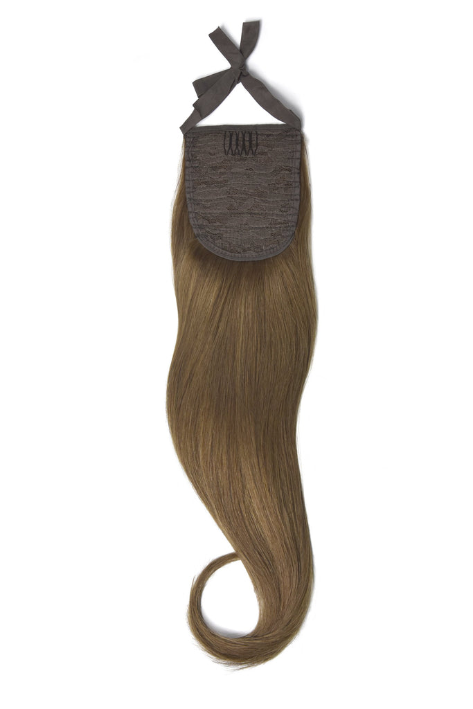 Clip in Ponytail Remy Human Hair Extensions - Medium Ash Brown (#8)