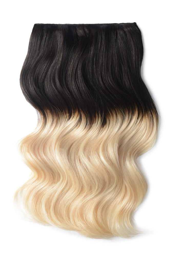 Double Wefted Full Head Remy Clip in Human Hair Extensions - ombre/Ombre (#T1B/60)