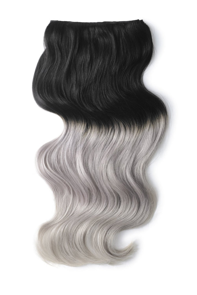 Double Wefted Full Head Remy Clip in Human Hair Extensions - Natural Black/Silver Ombre (#T1B/SG)