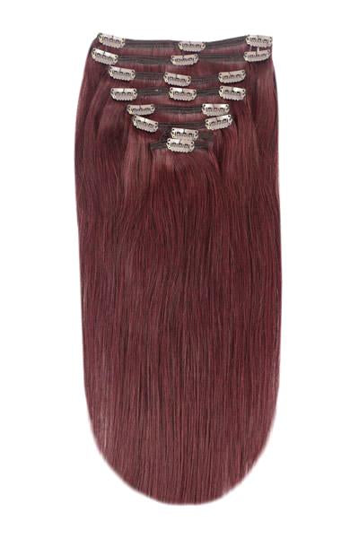 Mahogany red clip in hair extensions