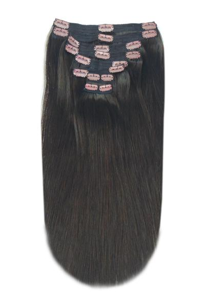 Clip in hair extensions darkest brown