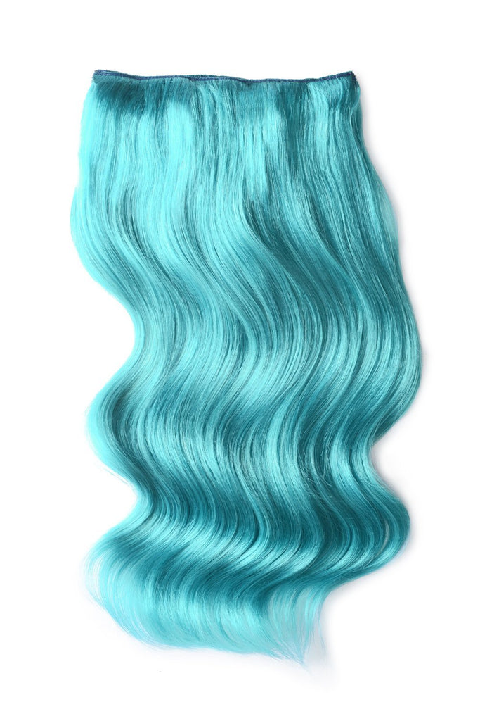 Double Wefted Full Head Remy Clip in Human Hair Extensions - Turquoise