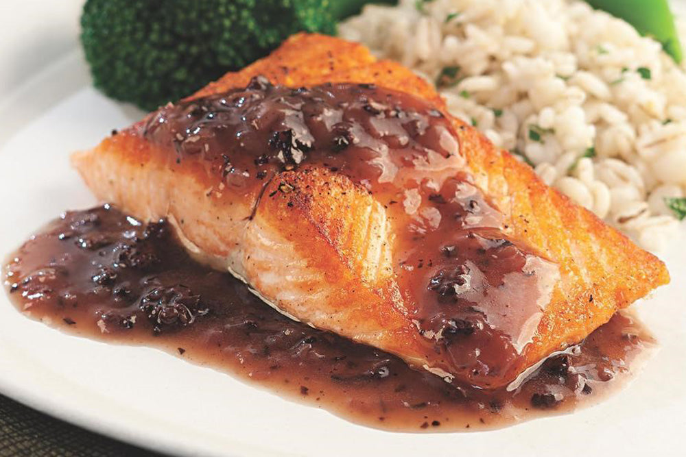 Seared Salmon with Red Wine & Michigan Morel Sauce