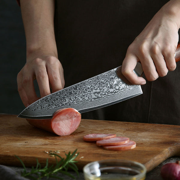 Full Tang Gyuto Damascus Chef Knife. Rose Wood Handle
