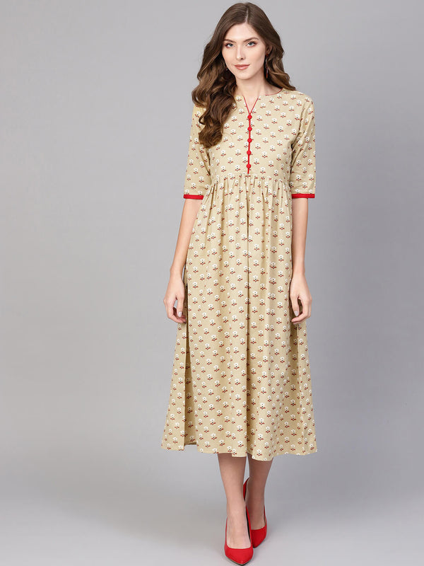 Beige Cotton Block Printed Fit And Flared Maxi Dress