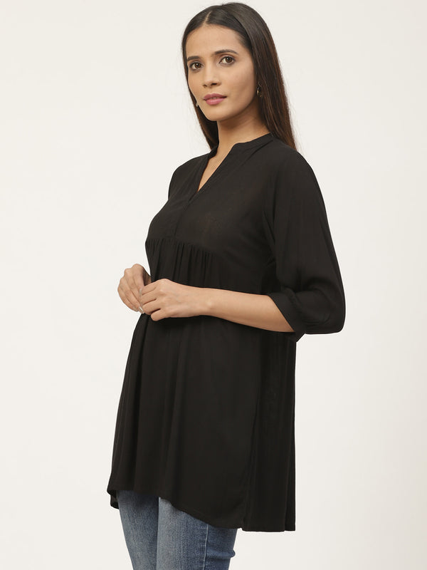 Black Rayon Solid Short Kurti