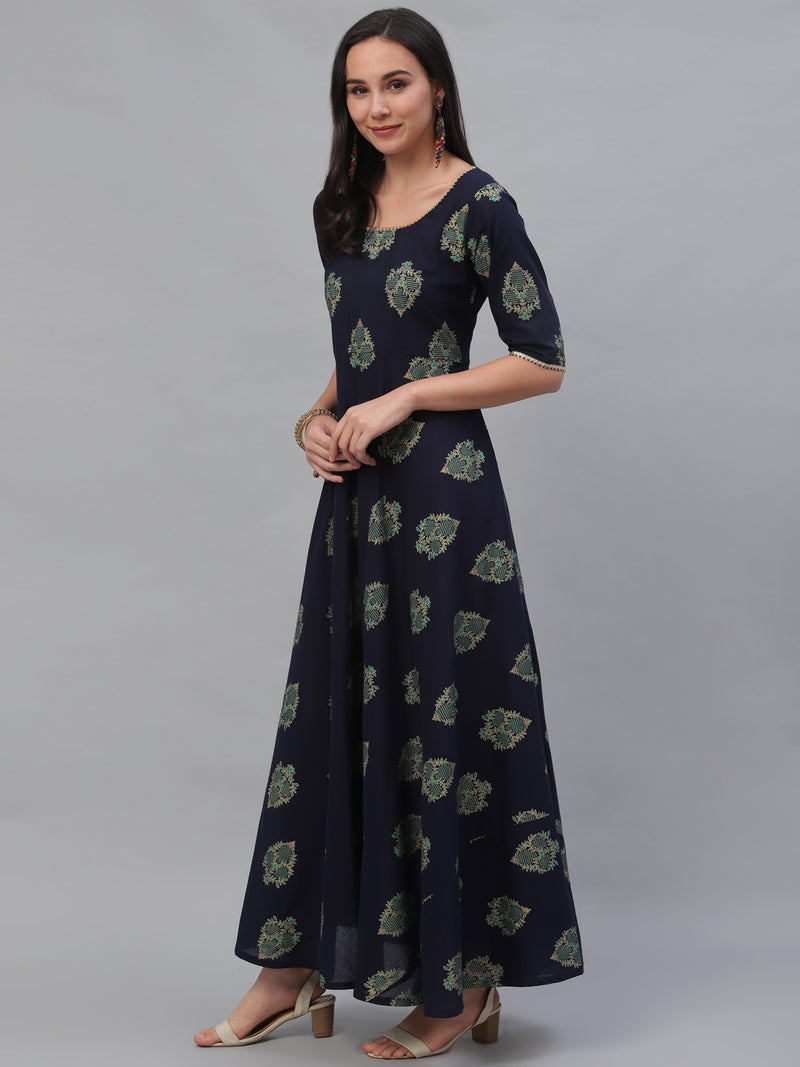 Blue Cotton Printed Flared Dress