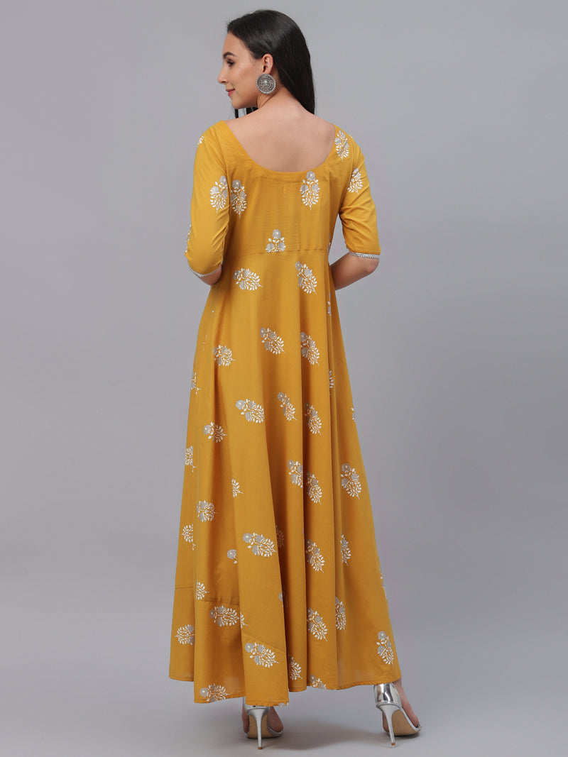 Yellow Cotton Printed Flared Dress